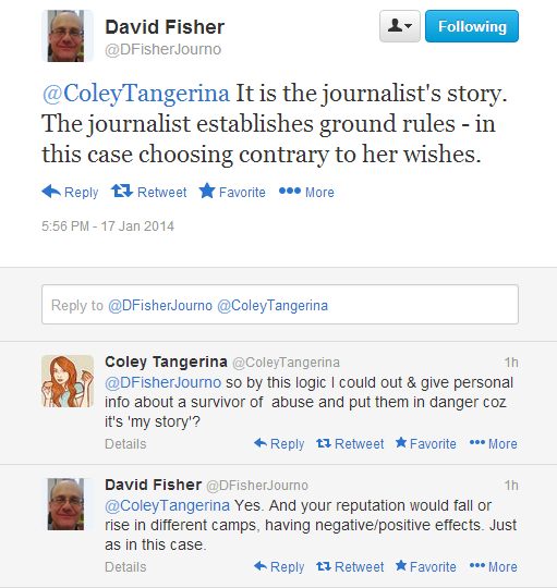 Twitter discussion between David Fisher and Coley Tangerina